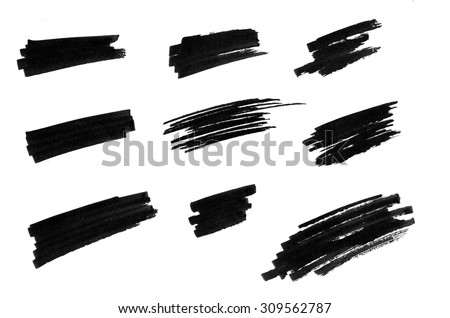 Set of hand drawn marker lines to highlight words or paragraphs - stock photo