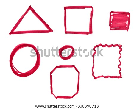 Set of hand-drawn red marker frames and borders isolated on white background - stock photo