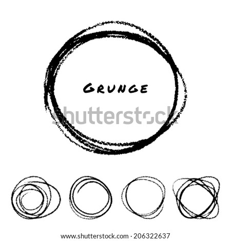 Set of Hand Drawn Scribble Circles - stock photo