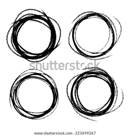Set of Hand Drawn Scribble Circles, raster design elements  - stock photo