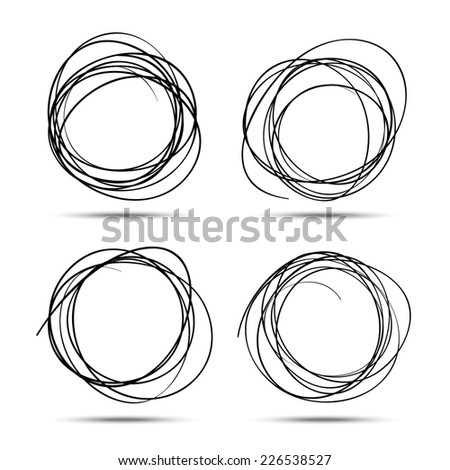 Set of Hand Drawn Scribble Circles, raster elements  - stock photo