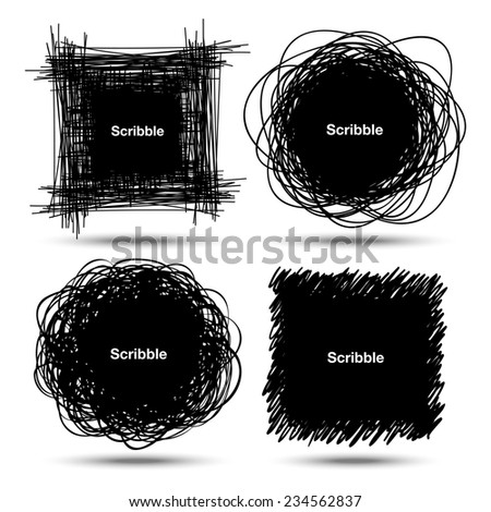 Set of Hand Drawn Scribble Shapes, raster  design elements - stock photo