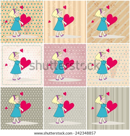 Set of hand drawn style illustration of cute romantic girl - Valentine's Day cards - stock photo
