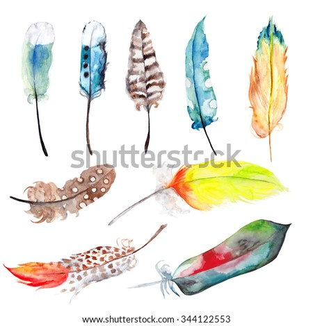Set of hand drawn watercolor paradise bird  and parrot feathers. Isolated on white background. Watercolor ribbon. Watercolor splashes splatters - stock photo