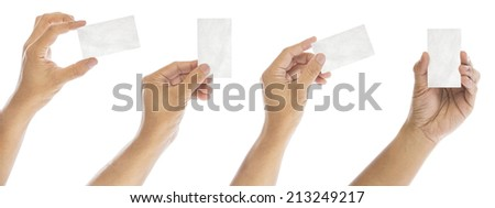 set of Hand hold blank business card - stock photo