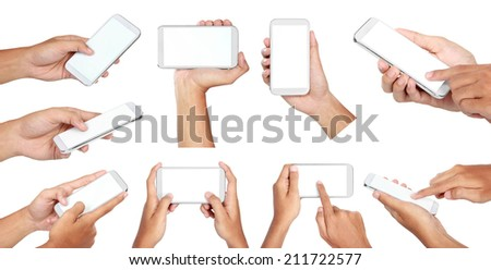 set of Hand holding mobile smart phone with blank screen. Isolated on white. - stock photo
