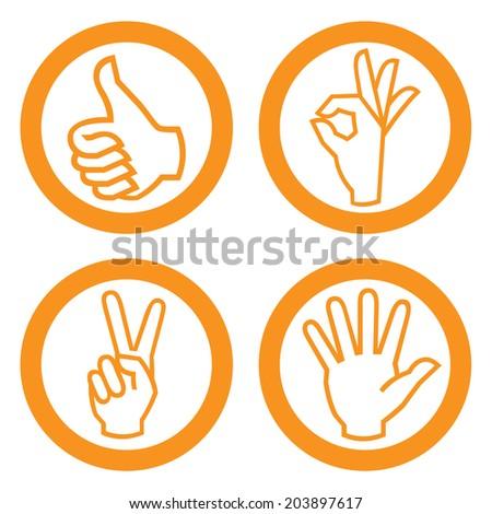 Set of hand on white background. - stock photo