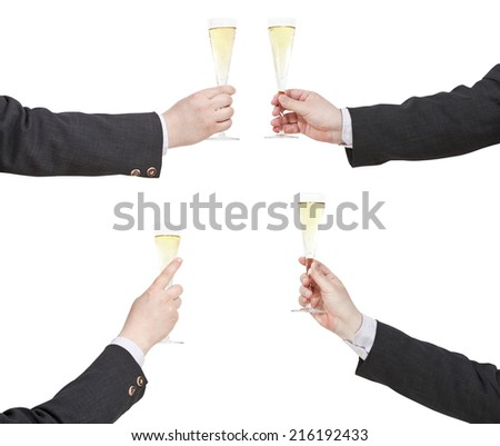 set of hand with raising of champagne glass isolated on white background - stock photo