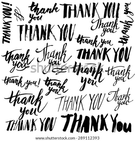 Set of handmade lettering signs THANK YOU - stock photo