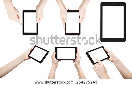set of hands holding tablet pc with cut out screen isolated on white background - stock photo