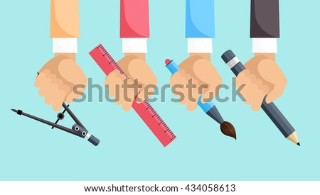 Set of hands with tools for design. Architect designer for project drawings. Architect hands with pencil and ruler. Architects workplace. Technical project. - stock photo