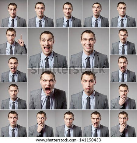 set of handsome emotional man over dark background - stock photo