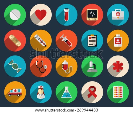 Set of health care and medicine icons in flat style. Pharmacy symbol sign, syringe and tablets - stock photo