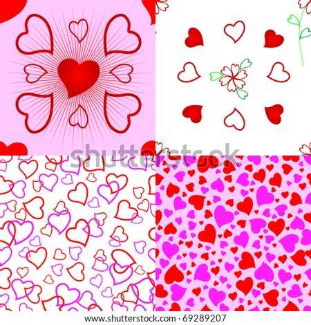 Set of heart seamless pattern. The similar image in my portfolio in vector format. - stock photo