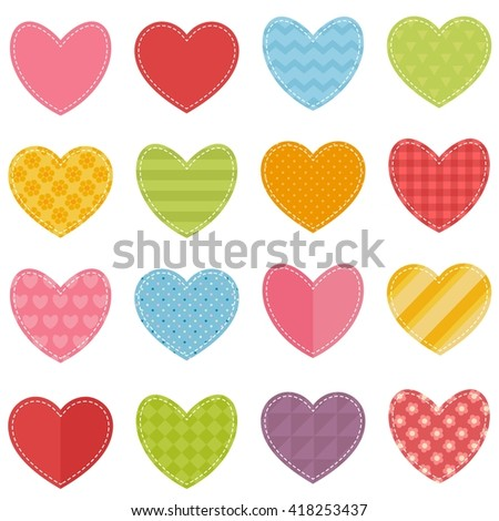 set of hearts. Raster version - stock photo