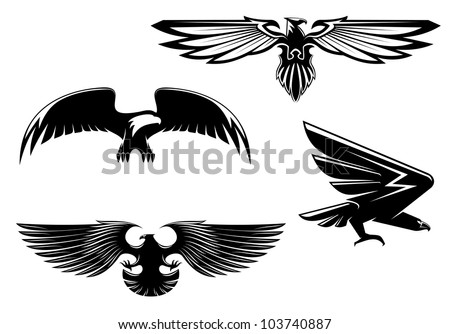 Set of heraldry eagles, hawks and falcons for tattoo or mascot design, such logo. Vector version also available in gallery - stock photo