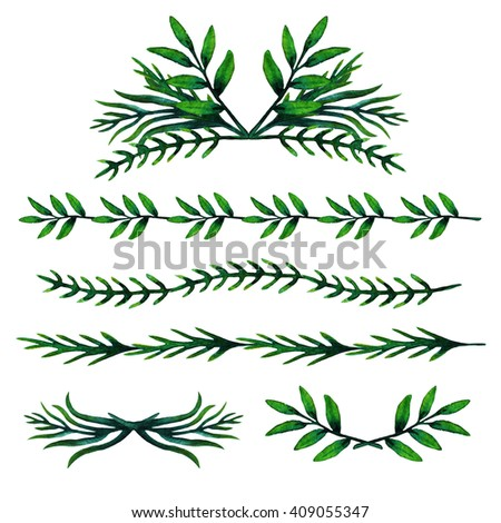 Set of herbal watercolor hand drawn design elements. Border, frame leaves. Nature, organic, ecology. Herbal elements for decoration. For design templates, invitation,card. Watercolor brushes texture.  - stock photo