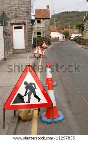 Set of highway signs for road works - stock photo