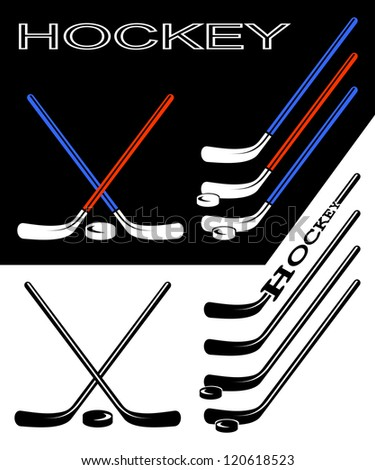 Set of hockey sticks on black and white backgrounds. EPS version is available as ID 112928632. - stock photo