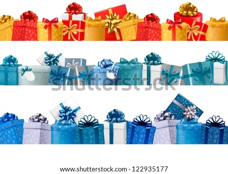 Set of holiday banners with gift colorful boxes with bow and ribbon. Raster version of vector - stock photo