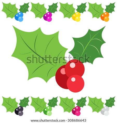 Set of holly berry sprig icons isolated on white background.  illustration of christmas symbol design. Collection of nature signs. - stock photo