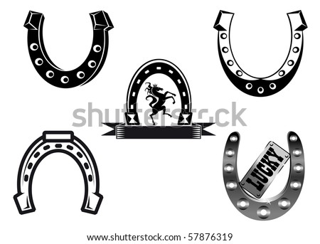 Set of horseshoes elements - also as emblem or logo template. Vector version also available in gallery - stock photo