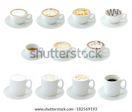 Set of hot drinks isolated on white background - stock photo