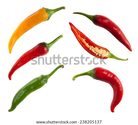Set of hot peppers isolated on white - stock photo