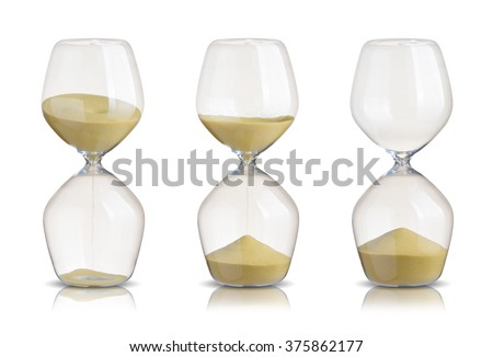Set of hourglasses on white background - stock photo