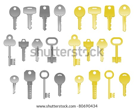 Set of house keys isolated on white. Vector version also available in gallery - stock photo