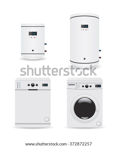 Set of household appliances  boiler and washing machine - stock photo