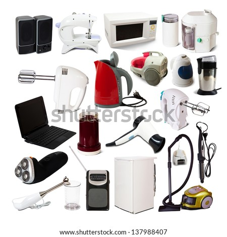 Set of  household appliances. Isolated on white background with shade - stock photo
