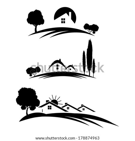 Set of houses icons for real estate business with trees on white background. - stock photo
