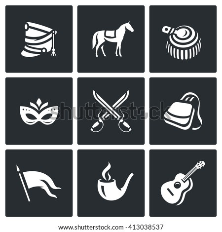 Set of Hussars Icons. Shako, Horse, Epaulettes, Carnival, Battle, Sabretache, Banner, Tobacco, Guitar. Hungarian horse troops and their life and habits - stock photo