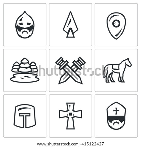 Set of Ice Battle Icons. Warrior, Spear, Shield, Lake, Forest, Crossed, Swords, Knight, Crusader, Cross, Priest. Ancient battle on the lake Russian soldiers and the German knights - stock photo