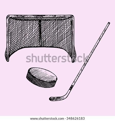 set of ice hockey elements: hockey stick, hockey goal and puck, doodle style, sketch illustration, hand drawn, raster - stock photo