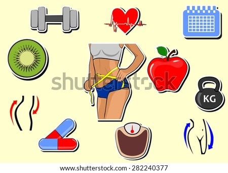 set of icons dedicated to diet and weight loss. - stock photo