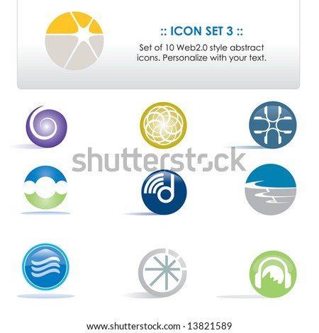 Set of 10 icons / elements that can be personalized with your own text (Icon Set 3) - stock photo