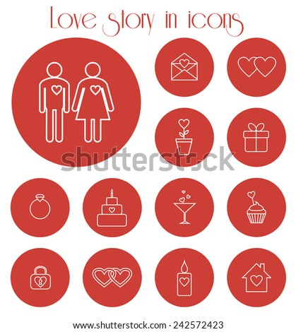 Set of icons for love story. Raster version - stock photo