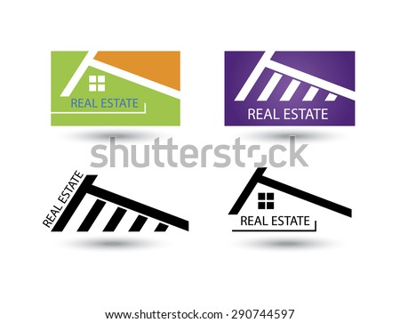 Set of icons for real estate business on white background. - stock photo