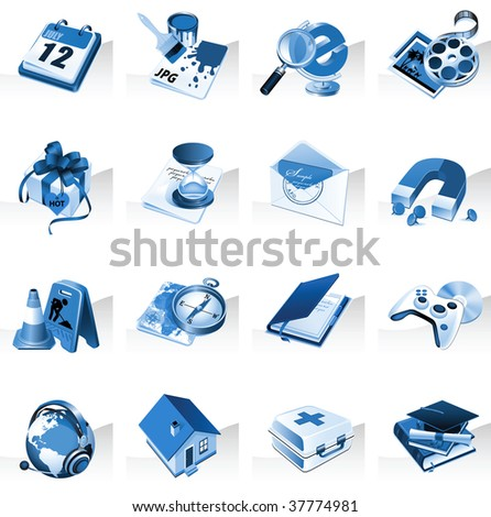 Set of icons for website in blue color. Raster version of vector illustration. - stock photo