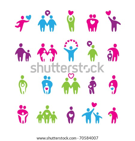 set of icons - love and family - stock photo
