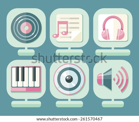 Set of icons music for app. Media player music icons, signs, silhouettes set. Raster version - stock photo