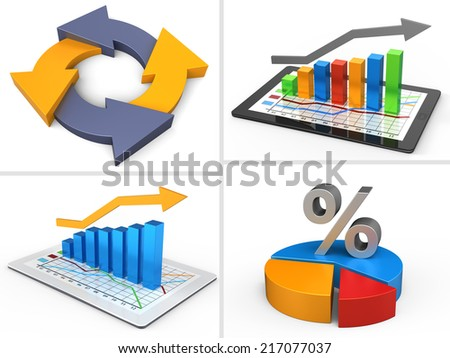 Set of icons of business objects on white background - stock photo