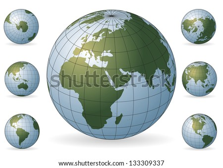 Set of icons of the Earth with various rotations. Maps of the world. Design elements - stock photo