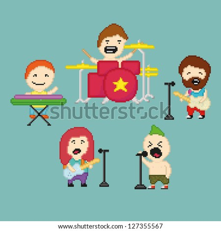 Set of icons on rock band theme in pixel art style, raster version - stock photo