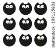 Set of icons owls. Raster version - stock photo