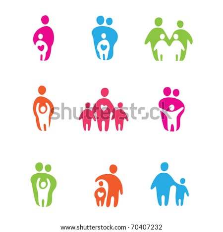 set of icons - the parents and children - stock photo