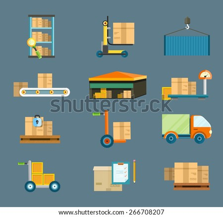 Set of icons warehouse distribution delivery in different locations. The technique works with boxes parcels. Delivery shipping concept in flat design. Raster version - stock photo