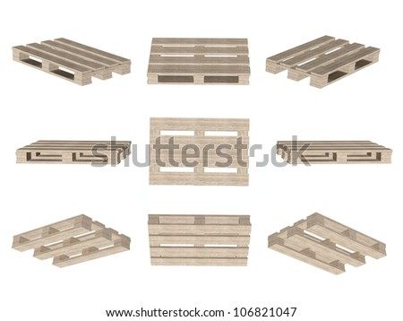 Set of icons, wooden pallet isolated on white background - stock photo